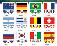 Wholesale mini banners - 2018 FIFA World Cup Tattoo Sticker National Flag Banners Russia Football Match Soccer Fans Face Wrist Body Stickers