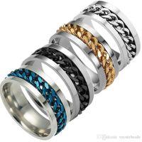zincir düğün bandı toptan satış-Moda 316L Paslanmaz Çelik Merkezi Zincir Spinner Yüzükler Erkekler için Düğün Band Tungsten Parmak yüzük Size6.7.8.9.10.11.12 Hiçbir solmaya Renk