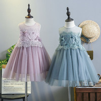 Wholesale Embroidery Baby Dress - Lace baby girl dresses 2018 Summer Kids Tulle Tutu Dress Sweet Flower Ruffle Children Sundress embroidery Pearl Princess Dress C3111