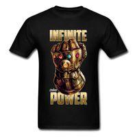 infinito caliente al por mayor-La camiseta más nueva de Infinite Power Camiseta de oro de Thanos Gauntlets Camiseta de algodón puro con cuello redondo Tees Funny Tops 2018 La camiseta más nueva de Marvel
