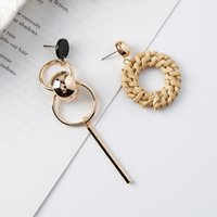 Wholesale Metal Handmade Jewelry - New Fashion Earrings handmade bohemian straw ring metal ball asymmetric Stud Dangle earrings For Women Charm Statement Jewelry Party Gifts