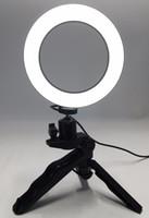 video video usb venda por atacado-Foto Anel LED 14.5 cm Iluminação Fotográfica + Tripé Telefone Vídeo Fotografia Ring Light USB Linha 3000k-6000k Branco Amarelo Cor