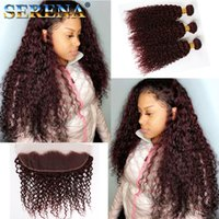 Wholesale 99j curly weave online - Wine Red J Kinky Curly Hair Bundles With Frontal Good Quality Burgundy J Brazilian Virgin Hair Extension Afro Kinky Curly Hair Weaves