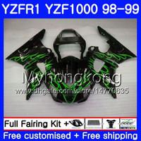 99 yamaha r1 verkleidungen großhandel-Karosserie für YAMAHA YZF R 1 YZF 1000 YZF1000 YZFR1 98 99 Rahmen 235HM.16 YZF-1000 YZF-R1 98 99 Heißgrüner Flammenkörper YZF R1 1998 1999 Verkleidung