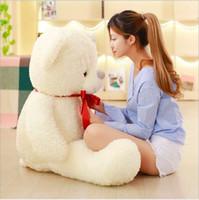 bej oyuncak ayı toptan satış-Bej Beyaz Teddy Bear Doldurulmuş Hayvanlar Peluş Oyuncak Simülasyon Çocuklar için Güzel Ayıcık Noel Doğum Günü Hediye