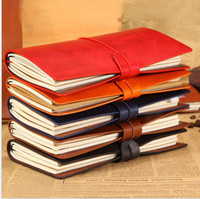 Wholesale korean spiral notebook resale online - cowhide notebook viungate pu leather notepads portable travel journal Student notebook korean stationery paper Christmas gifts memo pads