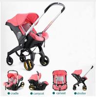 leichte kinderwagen gefaltet großhandel-Kinderwagen 3 in 1 mit Autositz Babywiege Neugeborenen leichte tragbare faltende Kinderwagen Landscope 4 in 1