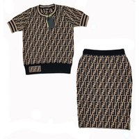 Wholesale designer dress knee length - Brand Designer Women Letters Jacquard Dresses 2018 Summer Fashion Stretch Round Neck Knitted Tops And Skirt Two Piece Set Brief Knitwear
