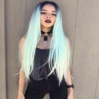 длинные прямые зеленые парики оптовых-Мода мяты зеленый парик длинные шелковистые прямые кружева передние волосы 180% плотность природных волос черный зеленый синтетический парик термостойкие