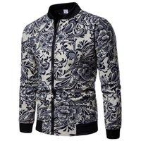 flores de impressão de linho venda por atacado-2018 outono moda jaqueta de linho homens hip hop tamanho grande flores piloto jaqueta bomber casaco dos homens jaquetas de impressão em euros tamanho s-2xl