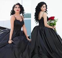 vestido gótico único al por mayor-Vestidos de novia negros góticos Correas espaguetis Apliques de encaje Satén Elegante Vestido de gala Vestidos de novia para bodas góticas Diseño único