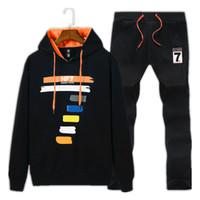 Wholesale Fleece Set Sweatshirt Piece - Brand New Men Set Autumn Sweat Sporting Suit Sweatshirt +Sweatpants 2 Pieces Fleece Lined Hoodies Tracksuit Male Sportswear