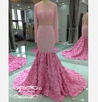 ingrosso bordare i modelli per gli abiti-Luxury Princess Beading strass Mermaid Pink Prom Dresses 2018 Rose Flowers Pattern Sheer maniche lunghe Open Back Pageant Dress Celebrity