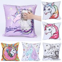 Wholesale sequin home decor resale online - Unicorn printing Pillows Case Mermaid sequins Pillow Cover Sofa Nap Cushion Covers Home Decor styles C4126