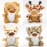 Wholesale Kawaii Lion Stuffed Animal Plush Keychain Doll Sitting Tiger Deer Leopard Stuffed Cartoon Toys Kids Gifts