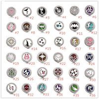 Wholesale heart locket bracelets - Noosa Aromatherapy Perfume Locket Snap buttons Heart Essential Oil Diffuser Crystal 18mm Snap Button Jewelry For Snap Bracelet Necklace