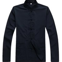 размер мандарина воротник куртка оптовых-New Arrival Chinese Traditional Men's Cotton Mandarin Collar Linen Tang Suit Clothing  Jacket Coat Plus Size S - 3XL