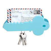 Wholesale mail holders - Wall Mounted Giant Key Shape Magnetic Key Holder Mail Organizer Box Envelope Christmas Greeting Cards Storage Box Home Decor