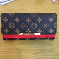Wholesale Vintage Sequin Clutch - Women brown flower long Fold wallet Totes Bag Designer Brand Famous Female Vintage Satchel Clutch