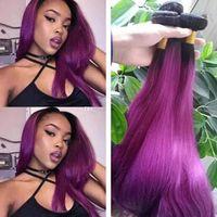 ombre malaysian purple hair 도매-9A 급료 똑 바른 머리 어두운 뿌리 자주색 Malaysian 인간 머리는 묶는다 기계 장치 두 배 Weft Ombre 자주색 처녀 머리 연장