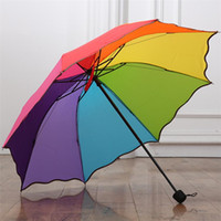 Wholesale plastic ribs for sale - Group buy New Colorful Rainbow color Rainy Telescopic Umbrella Ribs Three Folding falbala Rain Umbrellas T2I418