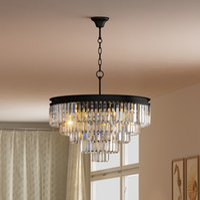 Wholesale Modern Tier Chandelier - 5-tier Odeon Crystal Glass Prsim Fringe Chandelier flush-mount ceiling chrome Lighting
