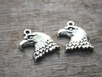 Wholesale eagle charm antique - 7pcs lot--Eagle Charms Antique Tibetan Silver Tone Eagle pendants charms 34x25mm