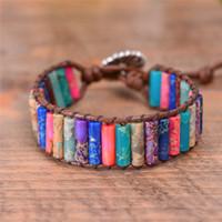 браслеты из натуральной кожи оптовых-Boho Tube Shape Браслет из натурального камня с бисером Уникальный кожаный браслет для дружбы