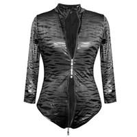 Wholesale black leotard clubwear resale online - Women s Sexy Leopard Faux Leather Bodysuit Zipper Wet look One Piece Jumpsuit Sexy Sleeveless Leotard Clubwear Designed Bodysuit