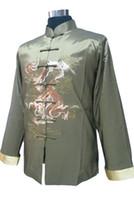 размер мандарина воротник куртка оптовых-Gray New Fashion Men's Silk Satin Jacket Chines Vinatge Embroidery Coat Mandarin Collar Tang Suit Size S M L XL XXL XXXL 2318