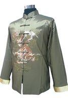 chaqueta de satén gris al por mayor-Gris Nuevos hombres de la moda de seda chaqueta de satén Chines Vinatge abrigo bordado cuello mandarín traje Tang tamaño S M L XL XXL XXXL 2318