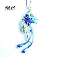 enamel pendants silver 925 UK - New Blue Phoenix Ethnic Cloisonne Enamel 925 sterling Silver Chain Necklace Pendant For Women Girl Chistmas Gift Fashion Jewelry