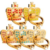 Wholesale wholesale bling tablet online - Diamond Finger Ring Holder Bling Crown mobile phone bracket stand For iphone x xs tablet pc android phone