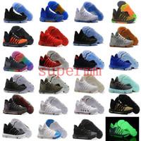 Wholesale Brown School Shoes - 2018 Zoom KD 10 Anniversary EP Oreo Red MVP Men Basketball Shoes KD 10 X Elite Low Kevin Durant Grade School Sport Sneaker