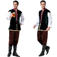 herren karneval kostüme großhandel-Bayerische Bierkostüme für Erwachsene Taverne Renaissance Mittelalter-Kostüm Oktoberfest Bierfest Kostüm Herren Karneval Cosplay