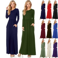 Wholesale Plain Long Sleeve Dress - Fashion Clothing Women Long Sleeve Maxi Dress Round Neck Loose Plain Swing Casual Long Dresses With Pockets High Quality FU028