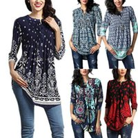 Wholesale black floral tunic - 2018 Women's Fashion Casual Loose Long Sleeve Cotton Blouse Shirt Tunic Tops Women Floral Blouse