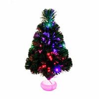 fiber optik yılbaşı ağacı toptan satış-45 cm Moda Mini Noel Ağacı Fiber Optik LED Ile Yapay Ve Yeni Yıl Dekorasyon Malzemeleri Için H842 Standı