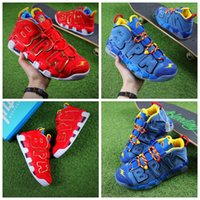 Wholesale blue label - 2018 Air More Uptempo BPM Basketball Shoes Scottie Pippen Doernbecher DB Bruce Lee Yellow Red Blue Leather Sports Sneakers Boots US 7-12