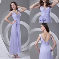 Wholesale holiday bridesmaid dresses - Babyonline New Designed 2018 Chiffon Bridesmaid Dresses Floor Length V Neck Plus Size Maid of Honor Formal Gowns Summer Holiday Dress ZPT341