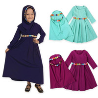 vestidos islámicos hijab al por mayor-Dos juegos Flor tradicional Ropa para niños Moda infantil Abaya Vestido de niña musulmana jilbab y abaya islámico Niños vestidos hijab