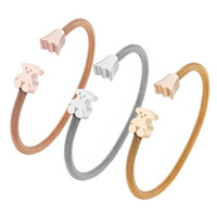 Wholesale silver bangle mesh cuff - New style Trendy mesh opening cuff crown bangle bracelet adjustable black bear rose gold Silver titanium factory wholesale Gift Jewelry