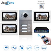 ingrosso telefono ip allarme-Touch Screen Video WIFI IP telefono del portello Video citofono campanello 7 '' per 3 Floors Appartamento / 8 Zone Alarm Supporto Smart Phone