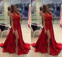 vestido abierto con abertura en la espalda al por mayor-2018 Barato Muslo Hendidura Splid Rojo Vestidos de baile Cuello en V Sexy Espalda abierta Barrido de tren Por encargo Vestidos de fiesta formales Vestidos para ocasiones especiales