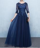 marineblau mütter kleid großhandel-Navy Blue Lace Mutter der Braut Kleider mit Halbarm Sheer Applique Lace-up Zurück Bodenlangen Formelle Abendkleider