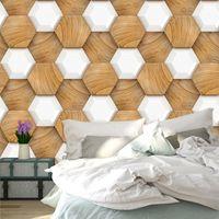 mural de madera al por mayor-Hexágono 3D Granos de madera patrón de papel tapiz de pared personalizado Mural Art Canvas Poster Living Room TV de fondo la decoración del hogar