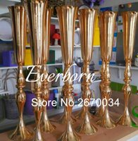 Wholesale vase stand metal - 88cm height silver gold metal candle holder candle stand wedding centerpiece event road lead flower vase 10 pcs lot