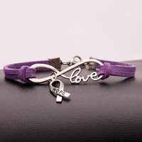 zeichen krebs groihandel-New Single Layers Purple Leather Cuff Charm Bracelet For Women Men Vintage Infinity Love Hope Cancer Sign Bangles Statement Jewelry Hot Gift