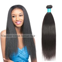 Wholesale natural yaki hair piece - Vinsteen Wholesale Yaki Straight 3 Bundles Brazilian Virgin Human Hair Weave 1pcs 100% Unprocessed Hair Extensions Wefts For Black Women