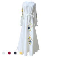 ropa de mujer islámica moda al por mayor-Moda musulmana Ropa turca islámica Abaya Dubai Gasa judía Vestido musulmán Kaftan Abayas Para Mujeres Kimono Abaya Dubai